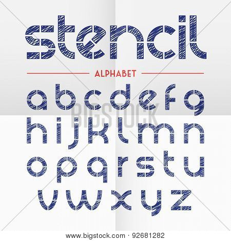 Pen scribbled stencil alphabet letters. Vector.
