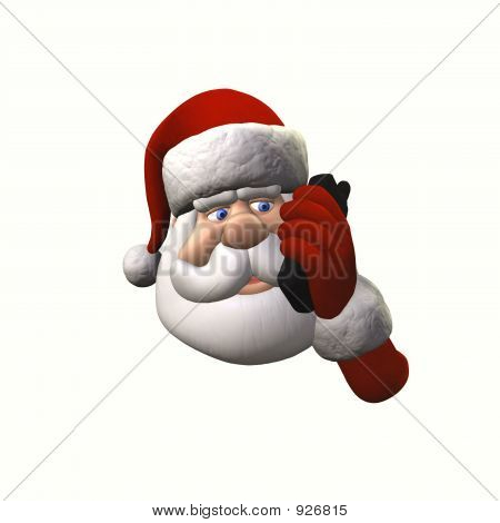 Santa On Cell Phone - Isolated