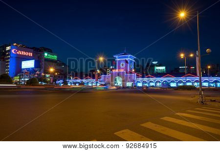 Ben Thanh Market At Night Blue Hour With Colorful Neon Light.