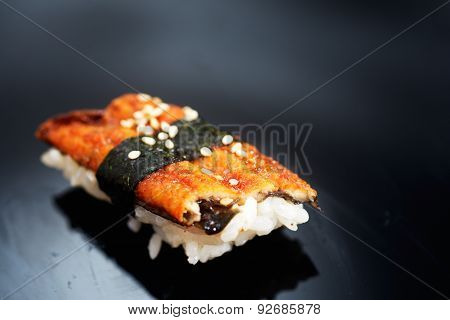 Traditional Japanese sushi with wasabi