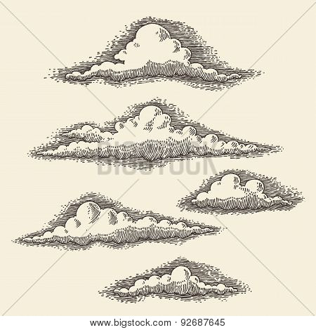 Retro Clouds Engraving Vector Hand Drawn Sketch