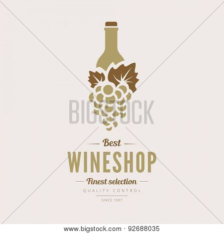 Logo Wine shop Retro Vintage Label design vector template. Vintage Logotype for Wine House