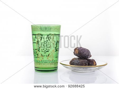 Glass of drinking water and date fruits are usually consumed before breaking fast during holy month of Ramadan- The Muslim Lent