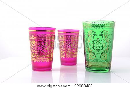 Colorful glasses on white background. Typical middle eastern design.