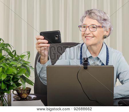 Cheerful professor Making Selfie