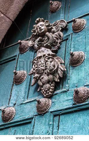 Copper Decoration On The Old Door In Cuzco, Peru