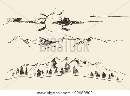 Mountains Forest Contours Engraving Vector