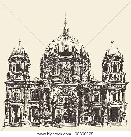 Berlin Cathedral Berliner Dom Germany Hand drawn