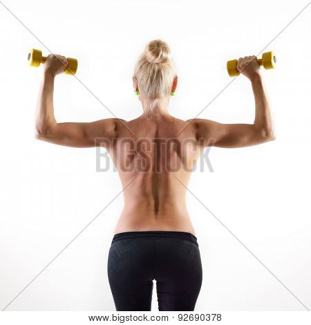 perfect fit woman, back view with dumbells