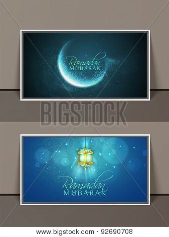 Creative website header or banner set decorated with shiny crescent moon and arabic lantern for Islamic holy month, Ramadan Kareem celebration.