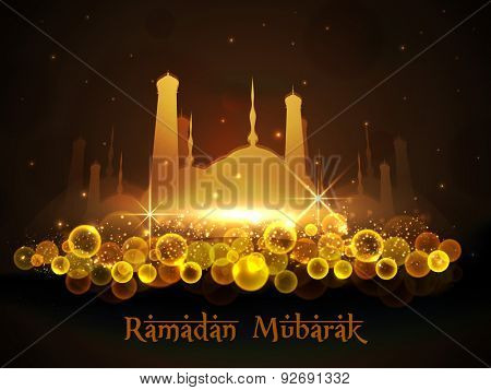 Shiny golden mosque on brown night background for Islamic holy month of prayers, Ramadan Mubarak celebration.