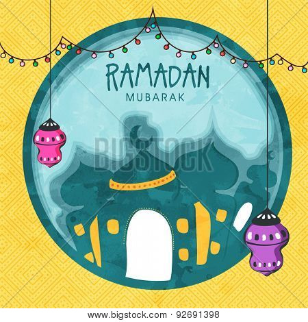 Creative mosque with hanging lanterns and colorful lights decoration on seamless yellow background for Islamic holy month of prayers, Ramadan Kareem celebration.