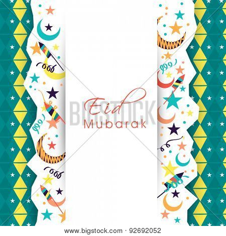 Beautiful greeting card design decorated with crescent moons, stars and firecrackers for Muslim community festival, Eid Mubarak celebration.