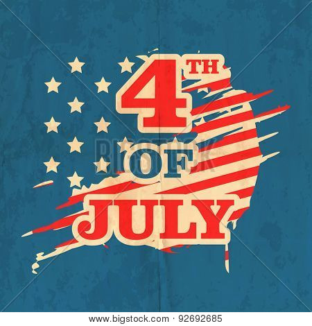 Stylish text 4th of July on national flag color vintage background for American Independence Day celebration.