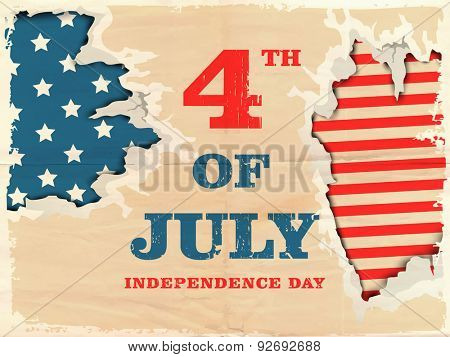 4th of July, American Independence Day celebration with creative illustration of national flag in the hole.