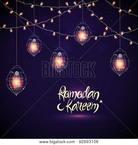 Creative illuminated hanging Arabic lanterns with glowing lights on purple background, Elegant greeting or invitation card for Islamic holy month, Ramadan Kareem celebration.