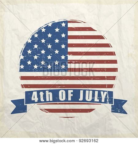 4th of July, American Independence Day celebration sticker, tag or label on vintage background.