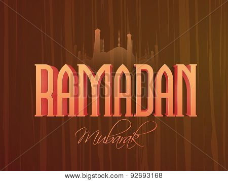Beautiful greeting card design with stylish text Ramadan Mubarak on mosque silhouetted wooden background for Muslim community festival celebration.
