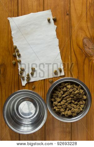 Food In Metal Bowl For Your Pet