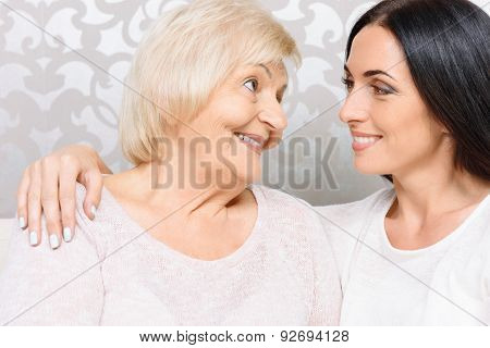 Close up of granny and granddaughter together