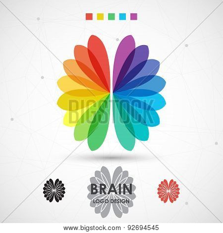 Abstract brain background color logo. Modern vector illustration