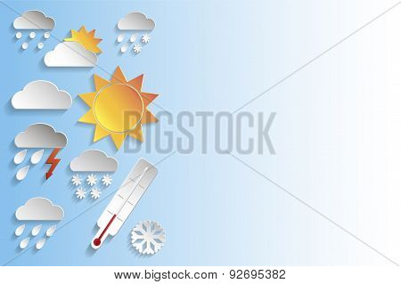 Weather Paper Signs On Blue Background
