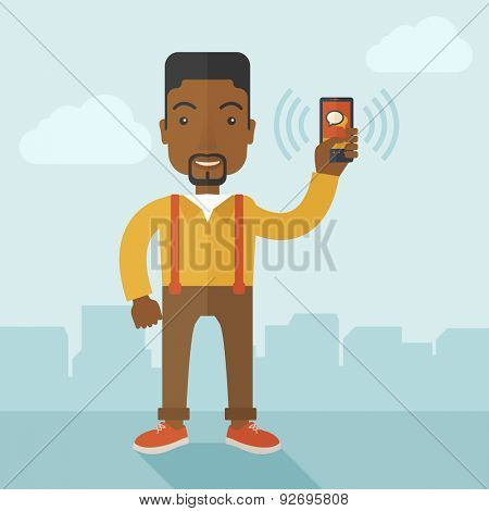 An office worker holding his smartphone vibrating. A contemporary style with pastel palette soft blue tinted background with desaturated clouds. Vector flat design illustration. Square layout.