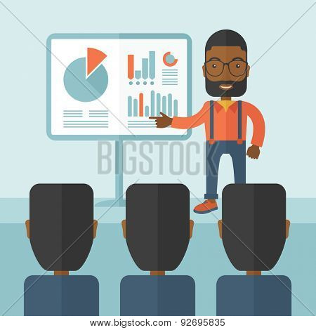 A black guy marketing officer show his business plan to his team. Teamwork concept. A contemporary style with pastel palette soft blue tinted background. Vector flat design illustration. Square layout