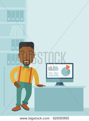 An african-american guy standing  while presenting a graph in business from his computer inside his office. Leadership concept. A contemporary style with pastel palette soft blue tinted background