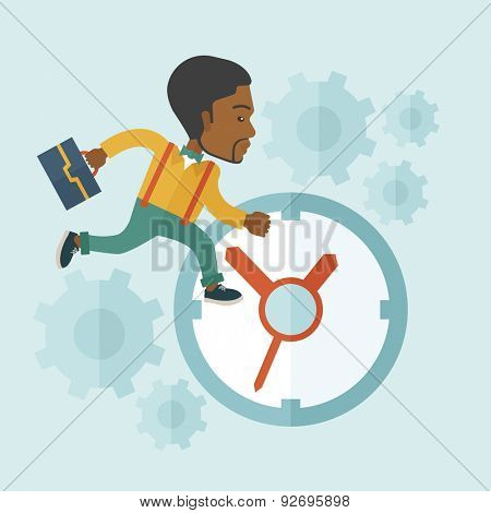 A worker with briefcase is late to Work with a clock symbol. A contemporary style with pastel palette soft blue tinted background. Vector flat design illustration. Square layout.