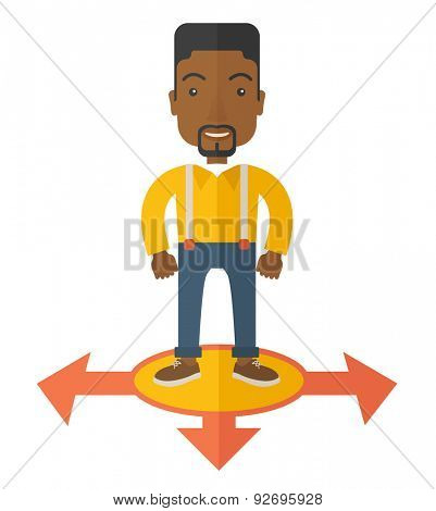 A black guy businessman standing on three ways arrows for selection. Business concept. A Contemporary style. Vector flat design illustration isolated white background. Square layout
