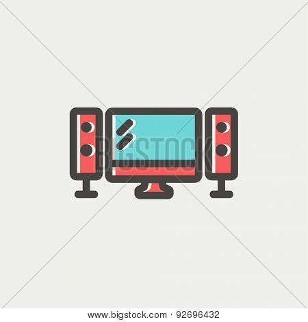 Flat screen television icon thin line for web and mobile, modern minimalistic flat design. Vector icon with dark grey outline and offset colour on light grey background.