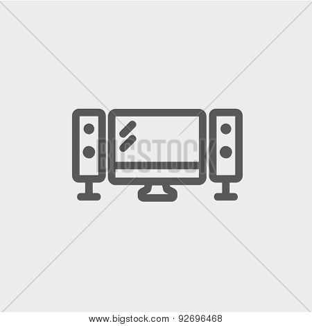 Flat screen television with speakers icon thin line for web and mobile, modern minimalistic flat design. Vector dark grey icon on light grey background.