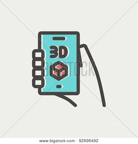 Smartphone with 3D box icon thin line for web and mobile, modern minimalistic flat design. Vector icon with dark grey outline and offset colour on light grey background.