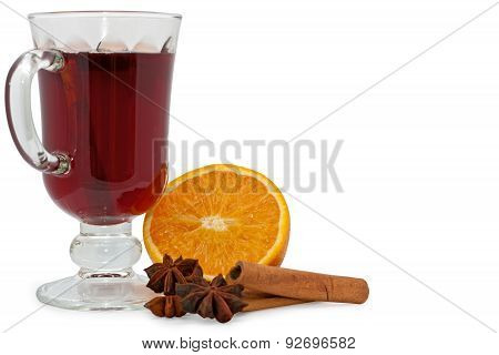 Mulled christmas wine isolated over white