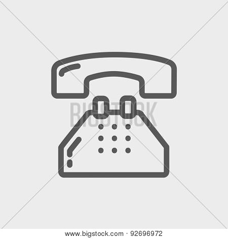 Telephone icon thin line for web and mobile, modern minimalistic flat design. Vector dark grey icon on light grey background.
