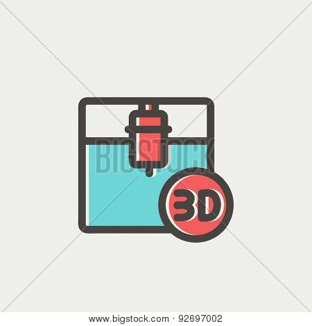 3D printing machine icon thin line for web and mobile, modern minimalistic flat design. Vector icon with dark grey outline and offset colour on light grey background.