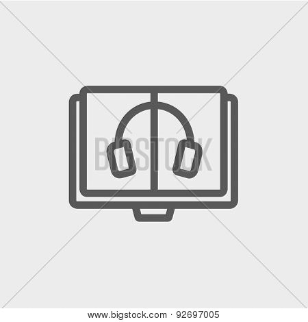 Headphone in screen monitor icon thin line for web and mobile, modern minimalistic flat design. Vector dark grey icon on light grey background.