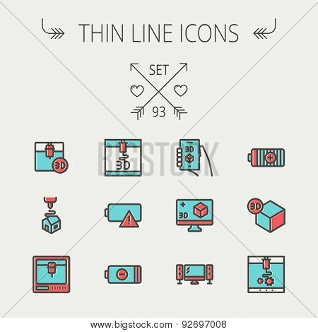 Technology thin line icon set for web and mobile. Set includes-3D printer, 3d box, tv with speakers, battery. Modern minimalistic flat design. Vector icon with dark grey outline and offset colour on