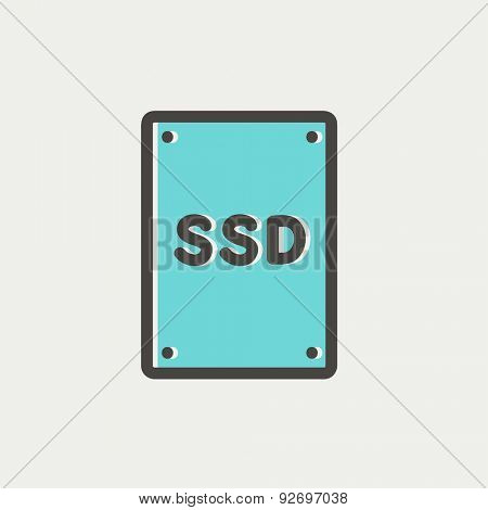 SSD Solid state drive icon thin line for web and mobile, modern minimalistic flat design. Vector icon with dark grey outline and offset colour on light grey background.