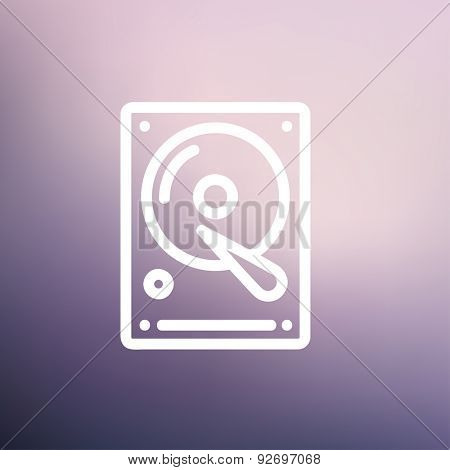 Hard disk icon thin line for web and mobile, modern minimalistic flat design. Vector white icon on gradient mesh background.