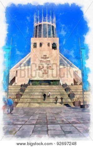 A Digitally Constructed Painting Of Liverpool Metropolitan Cathedral In Aquarelle Style