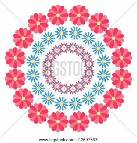 Summer Floral Round Ornament On A White Background
