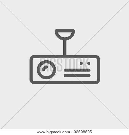 Vintage radio with analog dials and antenna icon thin line for web and mobile, modern minimalistic flat design. Vector dark grey icon on light grey background.