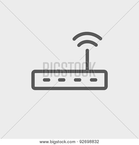 Wifi router modem icon thin line for web and mobile, modern minimalistic flat design. Vector dark grey icon on light grey background.