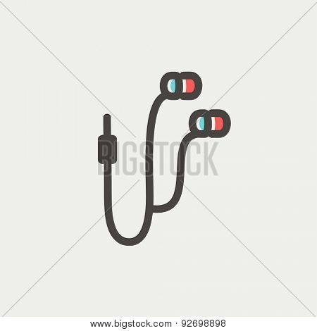 Earphone icon thin line for web and mobile, modern minimalistic flat design. Vector icon with dark grey outline and offset colour on light grey background.