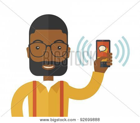 An office worker holding his smartphone vibrating. A Contemporary style. Vector flat design illustration isolated white background. Square layout