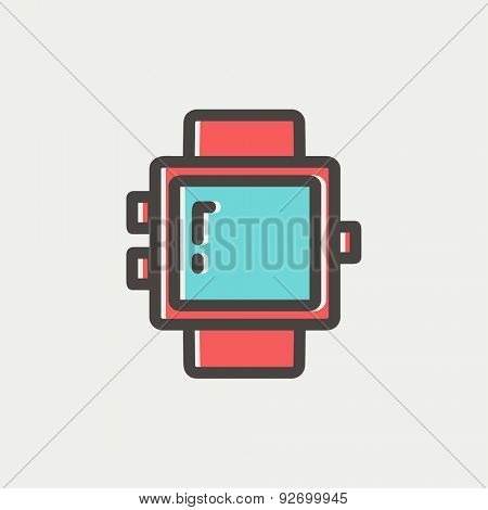Blank smartwatch icon thin line for web and mobile, modern minimalistic flat design. Vector icon with dark grey outline and offset colour on light grey background.