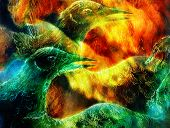 stock photo of emerald  - abstract background collage with emerald green phoenix bird - JPG