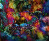 foto of emerald  - fairy emerald green phoenix bird colorful ornamental fantasy painting collage - JPG